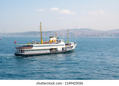 In Istanbul, 2017, city liner pessenger ship cruising in bosphrous. This ships are one of a symbol of Istanbul