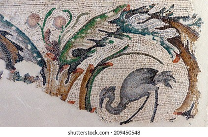 ISTANBUL _ MAY 16, 2014 - Heron grazing in a marsh, , mosaic scene, Great Palace,  in Istanbul, Turkey..