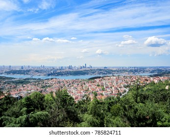 Istanbul aerial panorama with view of Bosporus Bridge and modern buildings district