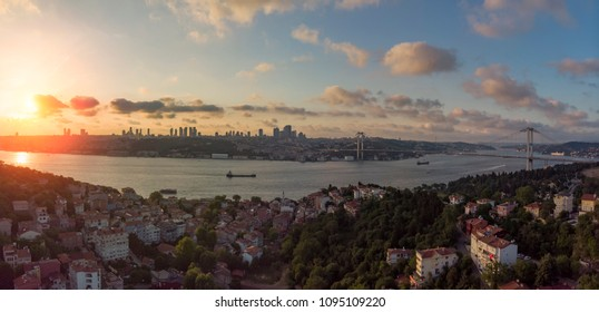 Istanbul aerial view during sunset with Bosphorus Bridge from Kuzguncuk district