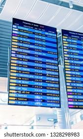 ISTANBUL, AIRPORT - FEBRUARY, 2019: Departures display board at airport terminal showing international destinations flights of the world's most popular cities. Business or leisure travel concept
