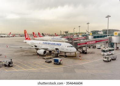 Istanbul airport with many airplanes of Turkish Airlines