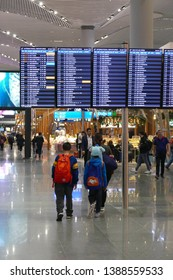 ISTANBUL -APR 23, 2019 - Departure area in the new Istanbul airport opened in April 2019, Turkey