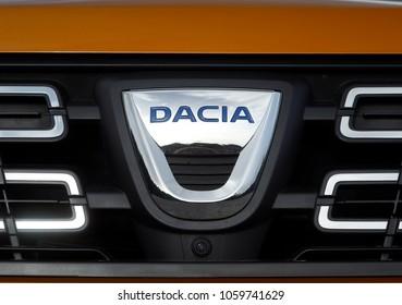 ISTANBUL - APRIL 02, 2018: Close-up of the Dacia car logo