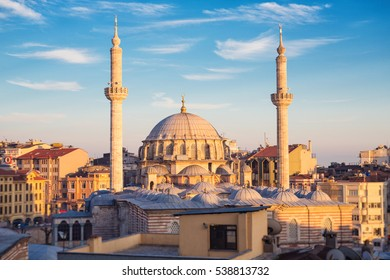ISTANBUL - APRIL 16, 2015: Laleli Mosque also called Tulip Mosque baroque style architecture, Ottoman imperial mosque built by Sultan Mustafa III from 1760 to 1763. In sunset time