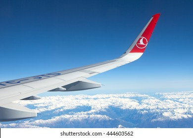 ISTANBUL - APRIL 20: Turkish Airlines flight TK1917 flies above the Alps en-route to Geneva from Istanbul on April 20, 2016.
