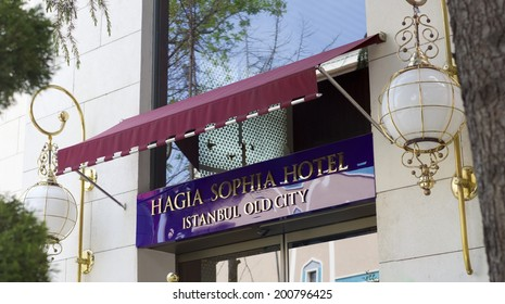 ISTANBUL - APRIL 27, 2014: Luxurious hotel sign in Istanbul. With 14 million residents it is the largest city of turkey