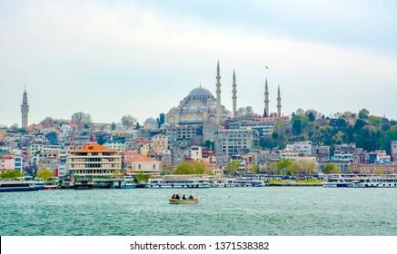 Istanbul, Turkey– April 6 , 2019: Suleymaniye mosque The Süleymaniye Mosque is an Ottoman imperial mosque located on the Third Hill of Istanbul, Turkey.