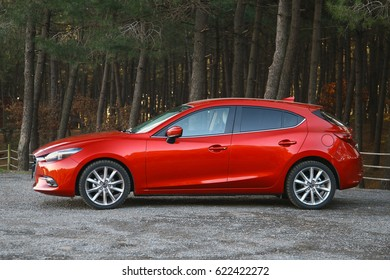 ISTANBUL - APRIL:New red Mazda 3 hatchback car April, 2017 Istanbul. Japan based, Japanese car brand