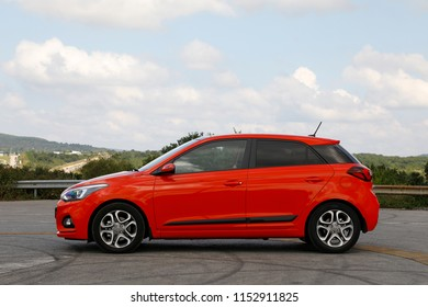 ISTANBUL - AUGUST 09, 2018: Hyundai's red i20 model with a refurbished small class car.