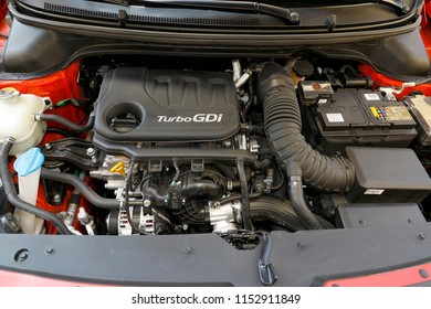 ISTANBUL - AUGUST 09, 2018: The new 1.0 Turbo GDI engine from Hyundai's red i20 model with the renewed mini-class car.