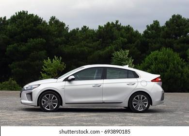 ISTANBUL - August: Hyundai brand new compact class hybrid model IONIQ hybrid, August, 2017 Istanbul. Hyundai Motor Company, South Korea-based multinational automotive company.