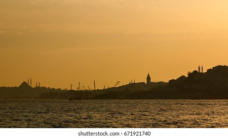 Istanbul beautiful silhouette on the bosphorus