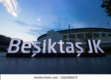 Istanbul, Besiktas / Turkey 07.04.2019: Turkish Football Team Besiktas JK Stadium Evening View, Vodafone Arena Landscape