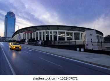 Istanbul, Besiktas / Turkey 07.04.2019: Turkish Football Team Besiktas JK Stadium Evening View, Vodafone Arena and Suzer Plaza