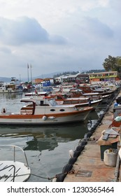 Istanbul, Beykoz / October 2018 seaside.fishing pier.boat docks,the set of the day.