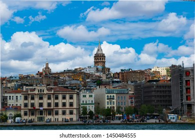 Istanbul, Beyoglu / Turkey - 05 07 2019: View of the historic tower built during the Genoese period in Istanbul on a blue sky background.
