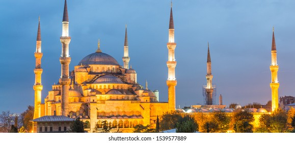 Istanbul. The Blue Mosque illuminated at dusk.