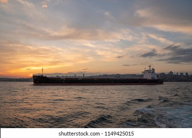 In Istanbul bosphorus, 2017, oil tanker passing bosphorus at sunset