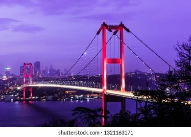 Istanbul Bosphorus Bridge (15th July Martyrs Bridge) view from Ortakoy. Istanbul, Turkey.