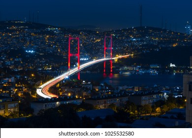 Istanbul Bosphorus Bridge aerial view. 15th July Martyrs Bridge. Istanbul / Turkey.