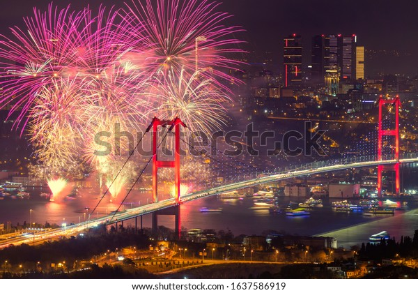 Istanbul Bosphorus Bridge fireworks celebration Turkey. A fairy-tale city with a fantastic view and a postcard-like look. Is the city that attracts the most tourists in the world.