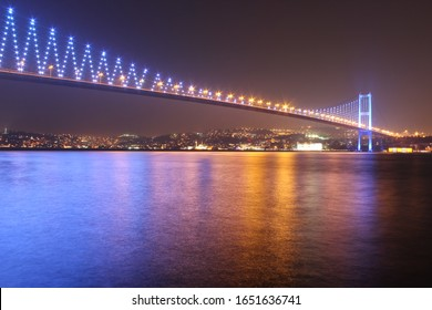 Istanbul Bosphorus Bridge and lights at night.