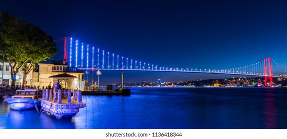 Istanbul Bosphorus Bridge at night. 15th July Martyrs Bridge. Istanbul / Turkey.