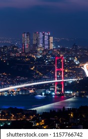 Istanbul Bosphorus Bridge at night. 15th July Martyrs Bridge. Night view from Camlica Hill. Istanbul, Turkey.