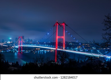 Istanbul Bosphorus Bridge at night. 15th July Martyrs Bridge (15 Temmuz Sehitler Koprusu). Istanbul, Turkey.