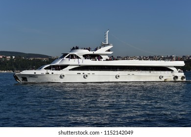 Istanbul, Bosphorus - July 12, 2018 : Luxury yacht cruising on Bosporus Istanbul - TURKEY