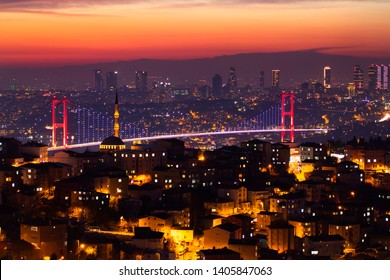 Istanbul Bosphorus landscape beautiful sunset 15 July Martyrs Bridge and mosque with lights amazing cityscape, There is towers, old and new Istanbul view. Best touristic destination Istanbul, Turkey