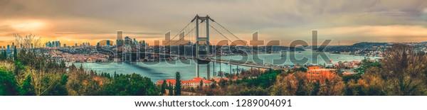 Istanbul Bosphorus panoramic photo. Istanbul landscape beautiful sunset with clouds Ortakoy Mosque, Bosphorus Bridge, Fatih Sultan Mehmet Bridge Istanbul Turkey.Best touristic destination of Istanbul