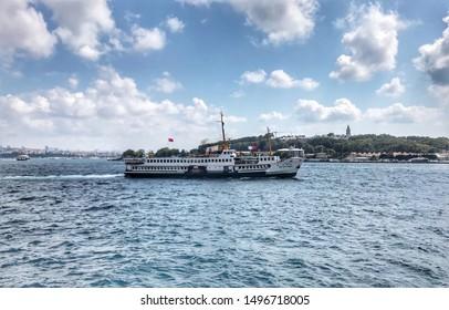 Istanbul, Bosphorus - September 05, 2019 : Passenger transport by ferry in Istanbul Bosphorus. Symbol of istanbul. Eminonu - TURKEY