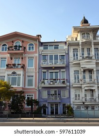 Istanbul bosphorus side colorful houses and mansions