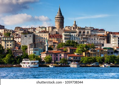 Istanbul city skyline in Turkey, Beyoglu district old houses with Galata tower on top, view from the Golden Horn.