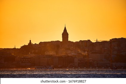 Istanbul cityscape in Turkey with Galata Kulesi Tower. Ancient Turkish famous landmark in Beyoglu district, European side of the cit. Architecture of the former Constantinople
