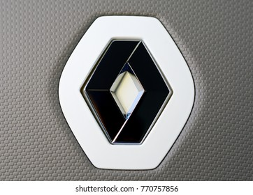 ISTANBUL - DECEMBER 2017: Renault brand close up logo. Renault S.A. is a French car manufacturer producing cars, vans, buses, trucks, tractors, tanks, autorail vehicles