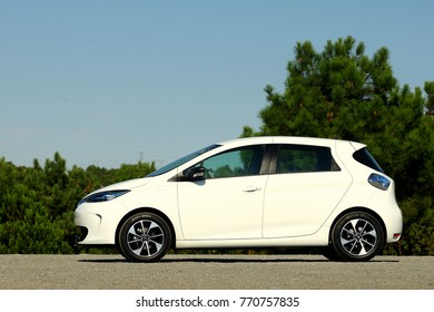 ISTANBUL - DECEMBER, 2017: White Renault Zoe ZE 40 electric car. The 5 door hatchback ZE 40 has a battery of 41 kWh.