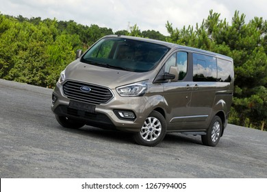 ISTANBUL - DECEMBER 27, 2018: Ford Transit Custom is a light commercial vehicle model since 2012, replacing the smaller front-wheel drive models of the fourth generation Ford Transit.