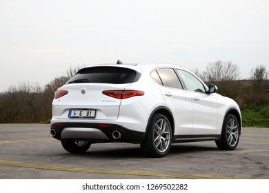 ISTANBUL - DECEMBER 29, 2018 : The New Alfa Romeo Stelvio is the new luxury optimal performance & utility SUV