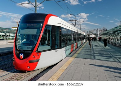 ISTANBUL - DECEMBER 8: A modern tram on Sirkeci on December 8, 2013 in Istanbul. Due to increasing traffic & air pollution, Istanbul became one of most polluted city also planned for return of tram.
