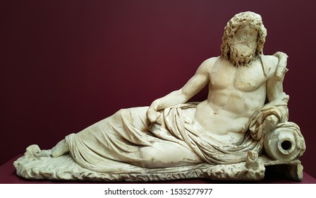 Istanbul, Fatih / Turkey - October 10 2019: Istanbul Archaeological Museum, Okeanos, the god of the river, MS II. century, marble sculpture, archaeological
