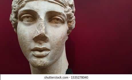 Istanbul, Fatih / Turkey - October 10 2019: Istanbul Archaeological Museum, Sappho, one of the world's first women poets, marble sculpture, archaeological work