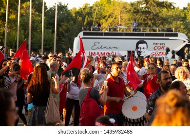 Istanbul, Fatih/Turkey - 27June 2019: The celebration ceremony of Ekrem Imamoglu, after taking his rights of Minister of Istanbul