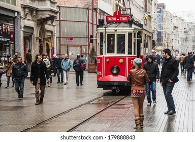 ISTANBUL - FEBRUARY 11: the old tram in Taksim on February 11, 2013 in Istanbul, Turkey