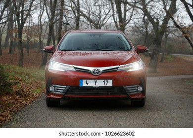ISTANBUL - FEBRUARY 16, 2018: The Toyota Corolla is the 50th anniversary exclusive logotype production model, which was launched in 1966.