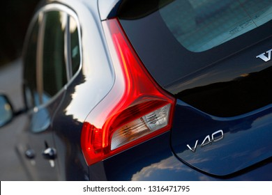 ISTANBUL / FEBRUARY 18, 2019: Volvo V40 model logo is a small family car (C-segment in Europe) manufactured and marketed by Volvo Cars.
