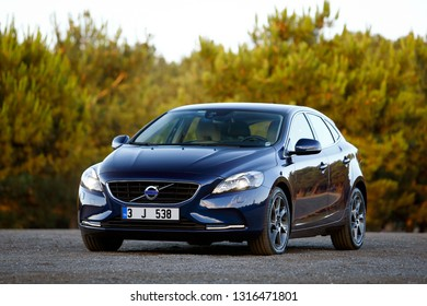 ISTANBUL / FEBRUARY 18, 2019: Volvo V40 is a small family car (C-segment in Europe) manufactured and marketed by Volvo Cars.