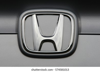 ISTANBUL - FEBRUARY: Close-up of Honda logo on February, 2017 in Istanbul, Turkey. Japanese brand that produces land, sea and air vehicles.